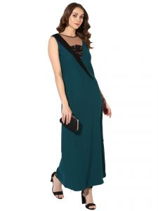 rcpc,soie,cloe Western Dresses - Soie Women's Contrast Flap Long Dress (Code - 7089T.BLUE)