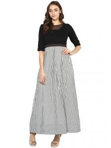 Hoop,Shonaya,Soie,Platinum,Sukkhi,Jpearls,Surat Tex Women's Clothing - Soie Women's Checks And Soild Long Dress (Code - 7091BLACK)