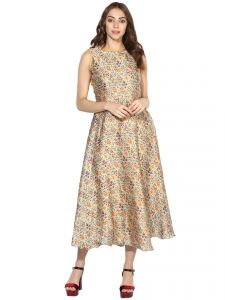 Hoop,Shonaya,Soie,Vipul,Kalazone,Arpera,Sukkhi Women's Clothing - Soie Women's Printed Long Dress With Fancy Back (Code - 7096GOLDEN)