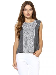 72a598324af5f2 Buy Kaamastra White Lace Up Turtleneck Cropped Top Online