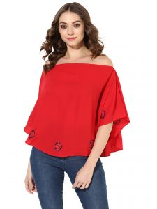 16c588f3c9e Soie Women s Red Kaftan Style Embroidered Crop Top (Code - 7106RED)