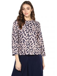 Lime,Surat Tex,Soie,Jagdamba Women's Clothing - Soie Women's  Navy Blue  Printed Flared Sleeve Short Top (Code - 7108N.BLUE)