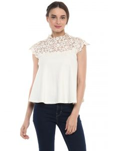 Tops & Tunics - Soie Women's Off White Circular Crop Top ( Code - 7117OFF WHITE )