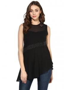 Tops & Tunics - Soie Women's  Black  Sheer And Lace Top (Code - 7127_I_BLACK)