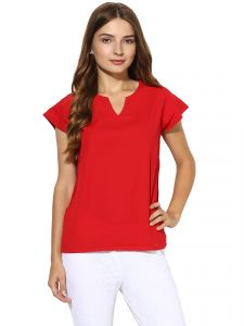 vipul,oviya,soie,kaamastra,kalazone Tops & Tunics - Soie Women's  Red  Lacy Back Top (Code - 7132_I_RED)