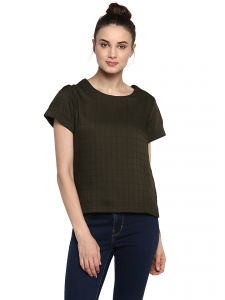 soie,unimod,vipul,kaamastra,clovia Tops & Tunics - Soie Women's Green Basic With Pleated Sleeve Top ( Code - 7136M.GREEN )