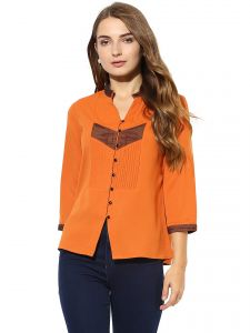 vipul,pick pocket,soie,the jewelbox,kiara Tops & Tunics - Soie Women's  Orange  Contrast Detailing Top (Code - 7142ORANGE)