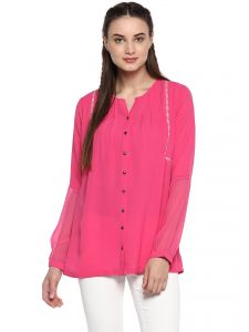2a4e3023f8e5 Soie Women's Pink Half Sheer Sleeves Top ( Code - 7167D.PINK ). Rs. 1,190