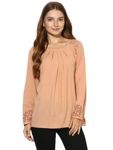Vipul,Pick Pocket,Kaamastra,Soie,Unimod,Flora,Kaara,Shonaya Women's Clothing - Soie Women's  Peach  Casual Lace Top (Code - 7177APRICOT)