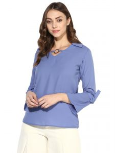 930813ab45 Soie Women s Blue Tie Cuff Casual Top (Code - 7184BLUEBERRY)