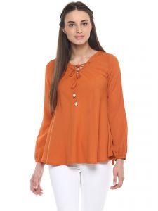 kiara,the jewelbox,jpearls,mahi,soie,surat tex Tops & Tunics - Soie Women's Orange Tie Up With Pearl Ball ( Code - 7186ORANGE )