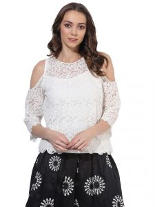 Soie,Unimod,Valentine,Jagdamba Women's Clothing - Soie Women's  Off White  Lace Cold Shoulder Top (Code - 7189_I_OFFWHITE)