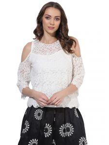 6db144b225cc8 Soie Women s Off White Lace Cold Shoulder Top (code -.