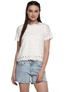 efa795426a3ae Soie Women s Off White Lace Basic Top ( Code - 7191off.