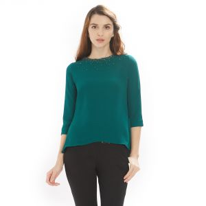 rcpc,mahi,ivy,soie Tops & Tunics - Soie Women's Round neck Top polyester ( Code - 7273DK.GREEN)