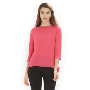 soie,port,ag Tops & Tunics - Soie Women's Round neck Top polyester ( Code - 7273PINK)