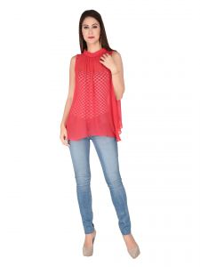 Soie Red Poly Chiffon Top For Women (code - 6104_i)