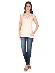 Soie L.peach Lace Fabric, Georgette Top For Women (code - 6123)