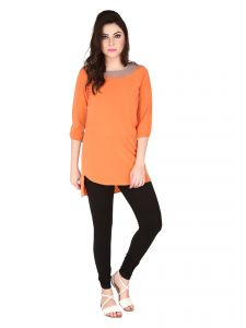 Soie Orange Crepe, Glass Nylon Tunic For Women (code - 6180orange)