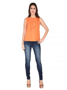 Soie Orange Heavy Georgette Top For Women (code - 6120orange)