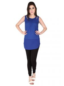 Soie Ink Blue Imported Poly Jute, Georgette Tunic For Women (code - 6301)