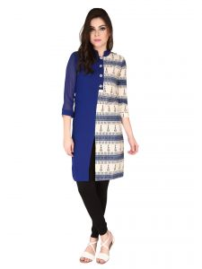 Soie Blue Printed Printed Jute ,georgette Tunic For Women (code - 6190)