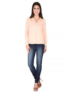 Soie Peach Georgette Top For Women (code - 6174peach)