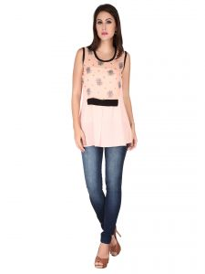 Soie Pink Printed Georgette Top For Women (code - 6156_i_pink)