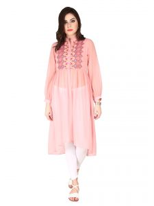 Soie Rose Pink Sheer Georgette Tunic For Women (code - 6184rose_pink)