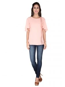 Soie Blush Pink Chiffon & Lace Fabric Top For Women (code - 6143)