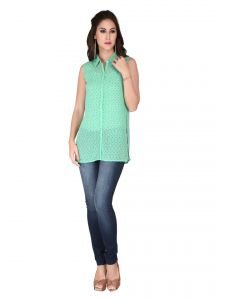 Soie Green Printed Georgette Top For Women (code - 6136_i_green)