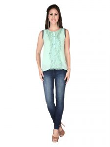 Soie Pista Green Georgette, Lace Fabric Top For Women (code - 6137_i_pista_green)