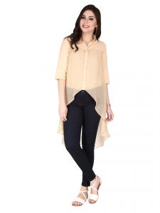 Soie Beige Georgette, Viscose Linen Top For Women (code - 6103_i)