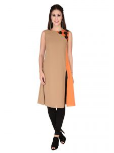 Soie Brown Moss Georgette Tunic For Women (code - 6302_b_brown)