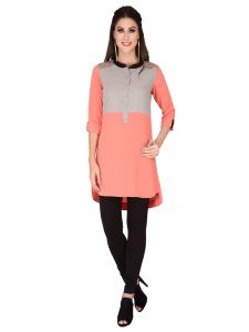 Soie Pink Structured Heavy Imported Georgette Tunic For Women (code - 6181pink)