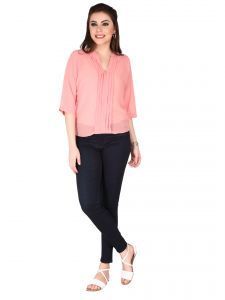 Soie Rose Pink Georgette Top For Women (code - 6106_i_rose_pink)