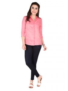 Soie Pink Remi Linen Top For Women (code - 6281pink)