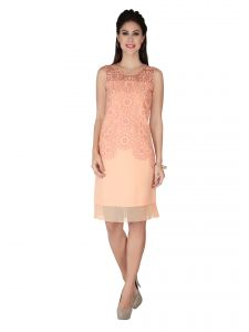 Soie Peach Embroidered , Georgette Dress For Women (code - 6241)