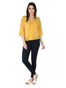 Soie Bright Gold Georgette Top For Women (code - 6106_i_bright_gold)