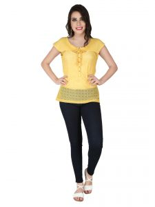 Soie Yellow Lace Fabric, Pique Cotton Knit Top For Women (code - 6291)
