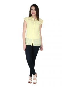 Soie Pale Yellow Georgette, Lace Fabric Top For Women (code - 6134_i)