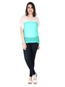 Soie Green Georgette Top For Women (code - 6290_i_green)
