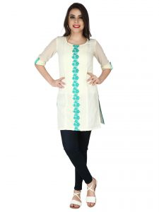 Soie Ivory Cotton Linen, Embroidered Lace Tunic For Women (code - 6310)