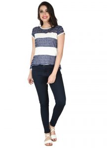 Soie Ink Blue Excel Linen Knit Fabric, Imported Square Knit Top For Women (code - 6154_i)