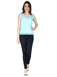 Soie Sky Blue Lace Fabric Top For Women (code - 6155_i_sky_blue)