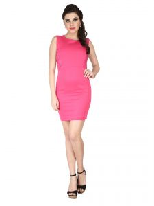 Soie Pink Polyester Lycra, Lace Fabric Dress For Women (code - 6207pink)