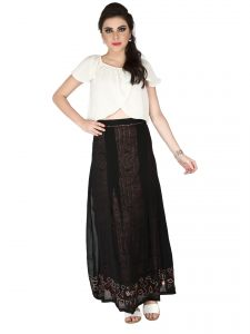 Soie Black Printed Rayon & Georgette Skirt For Women (code - Sk-23)