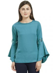 Tops & Tunics - SOIE Women's Embellished Ballon Sleeve Top Polyester  ( Code - 7678TEAL BLUE)
