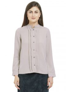 Hoop,Shonaya,Soie Women's Clothing - SOIE Women's Pleated Shirt Polyester Spandex ( Code - 7686L.BEIGE)
