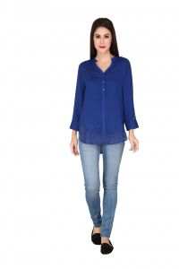 Soie Ink Blue Rayon, Lace Fabric Top For Women (code - 6289)